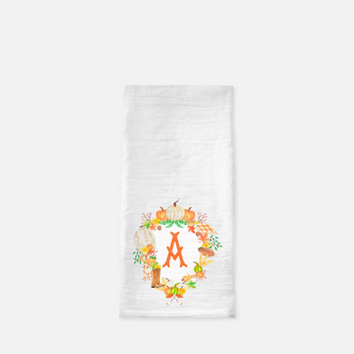 Custom Fall Crest Personalized Flour Sack Tea Towel