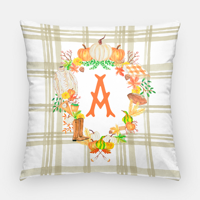 Custom Fall Crest Personalized Pillow, Taupe