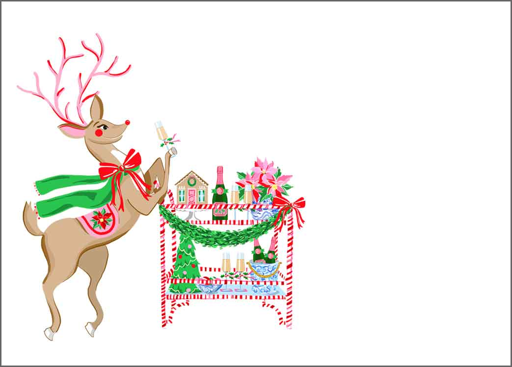 Blitzen & Bubbles Tented Blank Christmas Place Cards