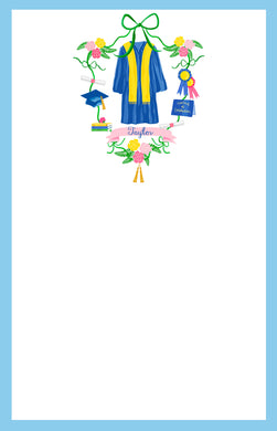 Graduation Crest Personalized Notepad, Multiple Sizes Available, Blue