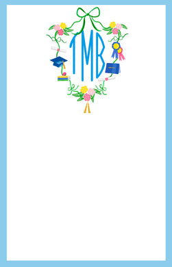 Graduation Crest with Monogram Notepad, Multiple Sizes Available, Blue