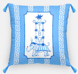 Blue Pagoda Parade Personalized Pillow