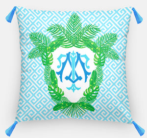 "Tropical Palm Leaf Crest, Salt Water, Personalized Pillow 18""x18"" or 20""x20"""