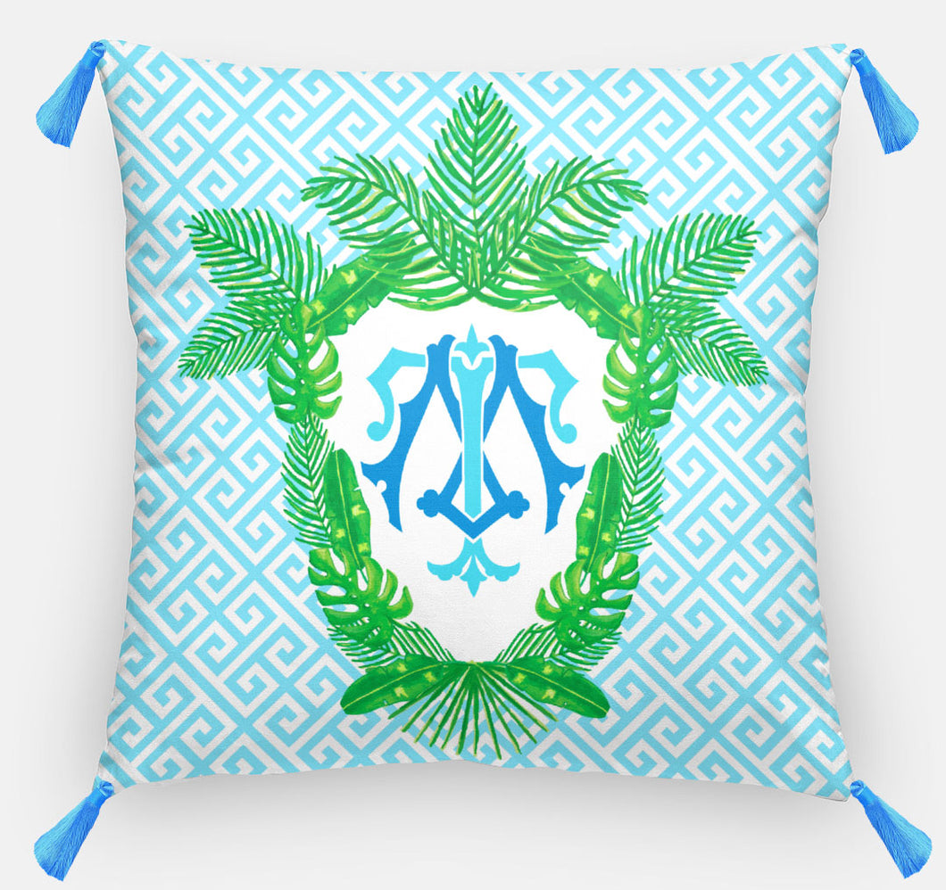 Tropical Palm Leaf Crest, Salt Water, Personalized Pillow 18