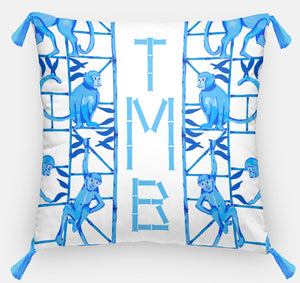 "Monkey Trapeze Trellis, Azure, Personalized Pillow, 18""x18"" or 20""x20"""