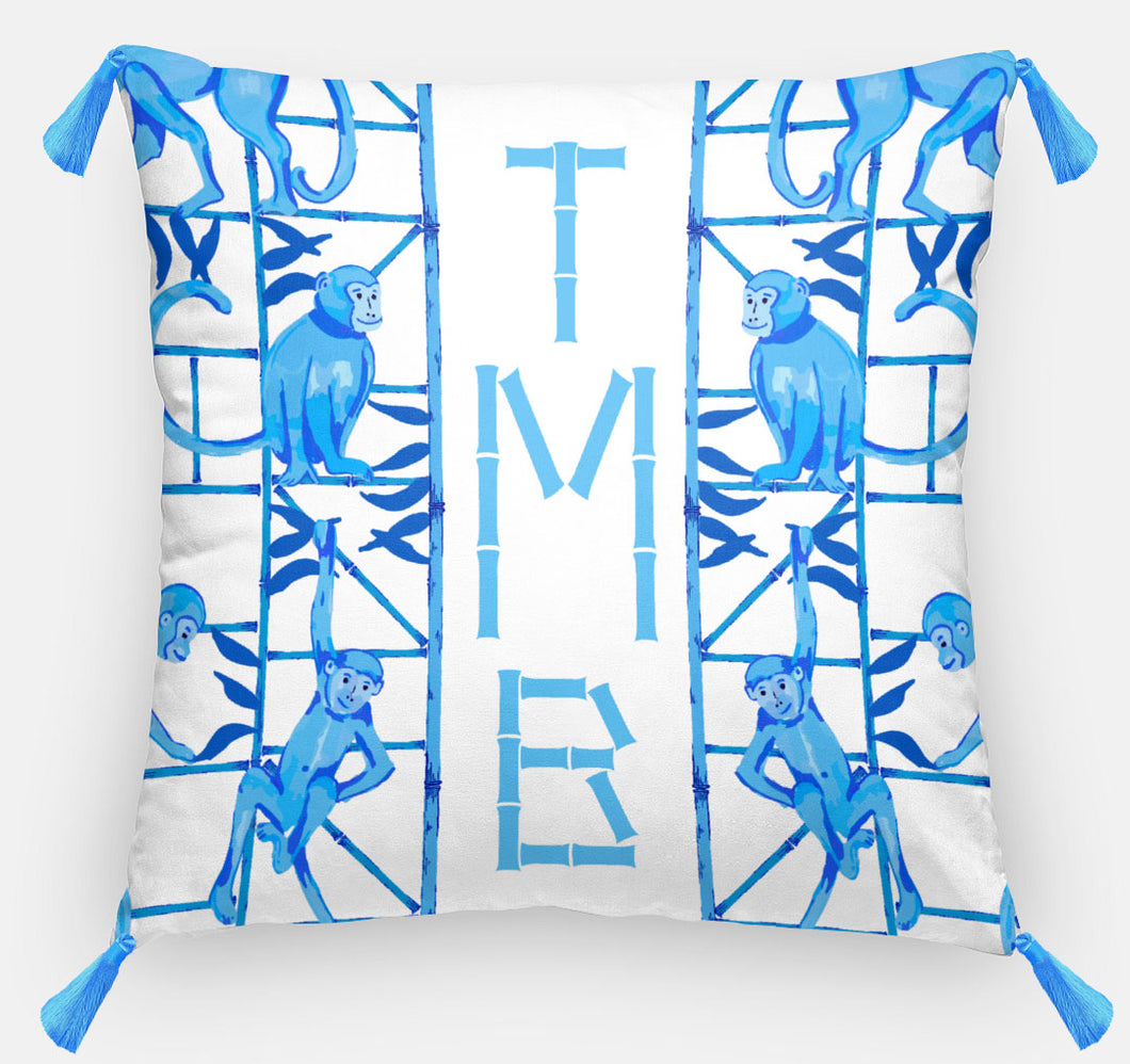 Monkey Trapeze Trellis, Azure, Personalized Pillow, 18