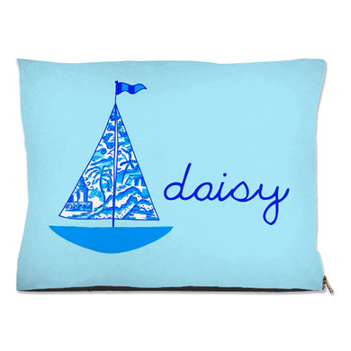 Chinois Sailboat, Seashore, Personalized Pet Bed, (3) Sizes Available