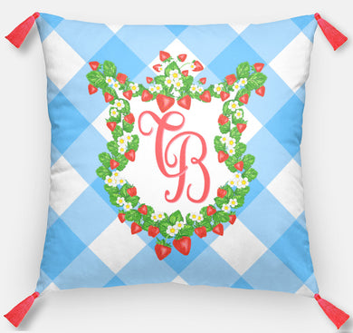 Strawberry Fields Crest Personalized Pillow, Blue Skies, 18