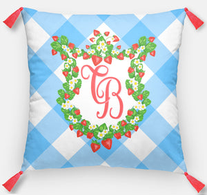 "Strawberry Fields Crest Personalized Pillow, Blue Skies, 18""x18"" or 20""x20"""