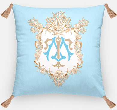 Seashell Crest  Personalized Pillow, Driftwood, 18