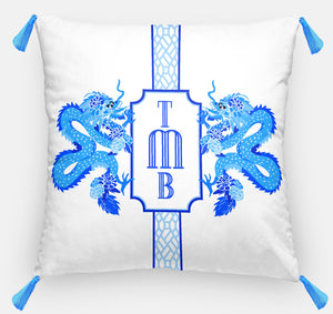 "Dragon Crest Euro Pillow, Lapis, Euro Pillow & Insert, 26""x26"""
