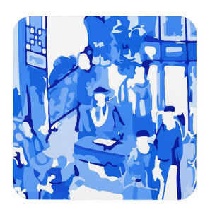 Blue & White Famille Rose Cork Backed Coasters - Set of 4