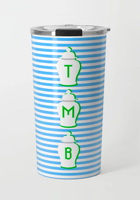 Blue & Green Ginger Jar Stripe Stainless Steel Travel Tumbler