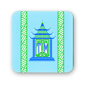 Royal Pagoda, Aquamarine, Cork Backed Coasters - Set of 4