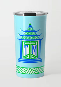 Royal Pagoda, Aquamarine, Stainless Steel Travel Tumbler