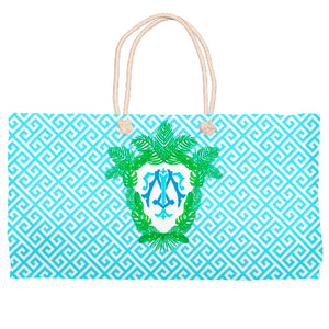 Tropical Palm Leaf Crest Tote Bag, Salt Water