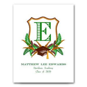 Personalized Graduation Crest for Boys Art Print