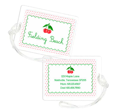 Dotted Cherry Personalized Laminated Bag Tag