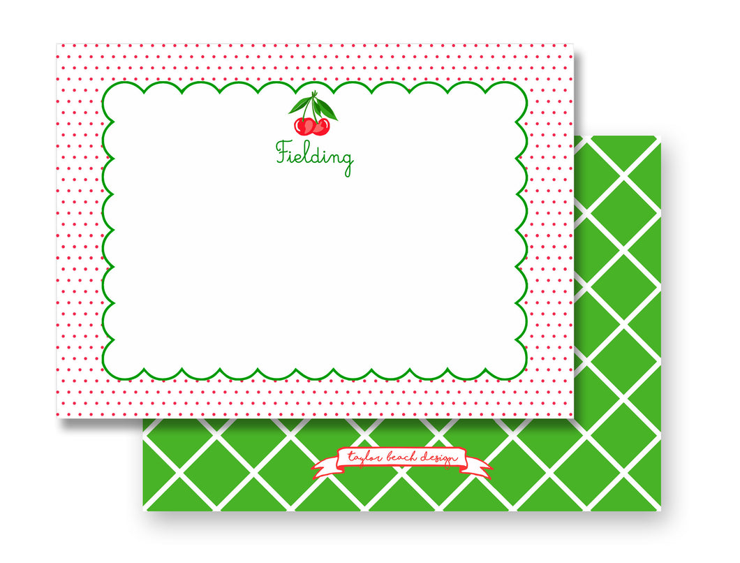Dotted Cherry Personalized Flat Note Cards