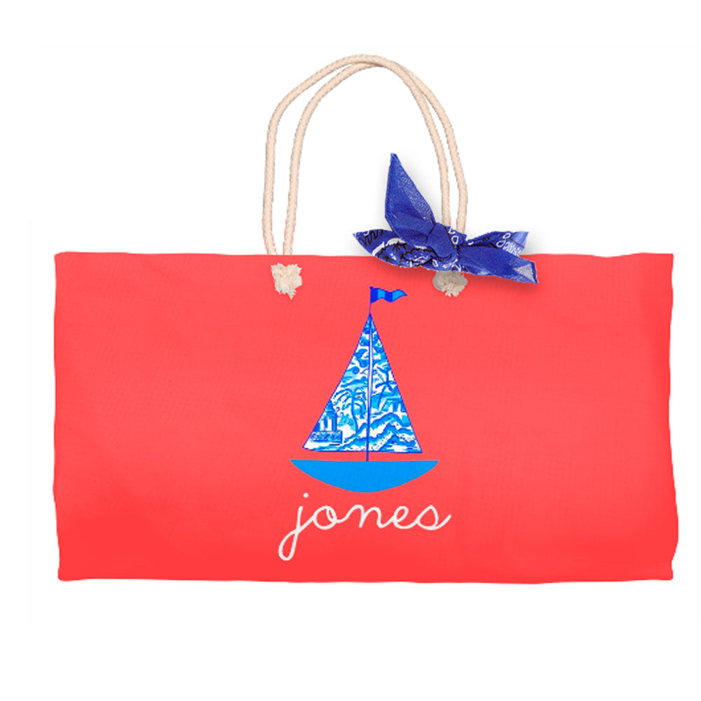 Chinois Sailboat, Geranium, Tote Bag