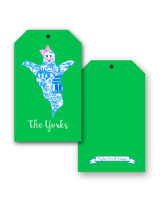 Chinoiserie Ghost Personalized Halloween Hang Tags, Ghoulish Green