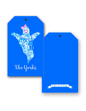 Chinoiserie Ghost Personalized Halloween Hang Tags, Blue Moon