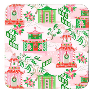 Chinoiserie Wonderland Christmas Cork Backed Coasters - Set of 4