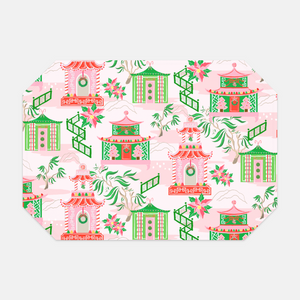 Chinoiserie Wonderland Set of (2) Fabric Christmas Placemats