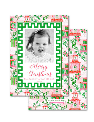 Chinoiserie Wonderland Personalized Photo Holiday Card, 5.5