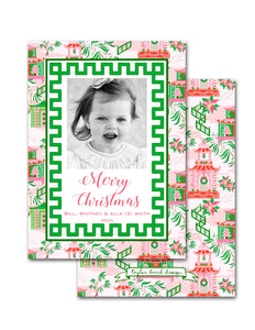 Chinoiserie Wonderland Personalized Photo Holiday Card, 5