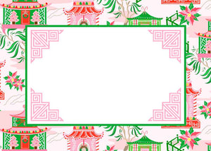 Chinoiserie Wonderland Christmas Tented Place Cards