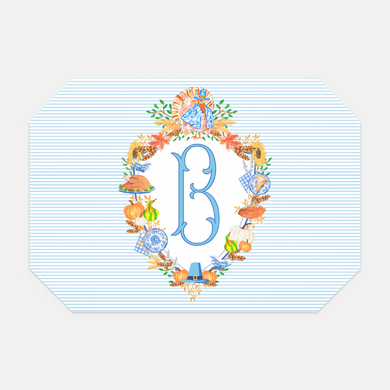 Thanksgiving Crest Set of (2) Personalized Fabric Placemats
