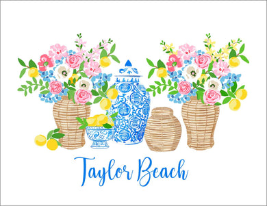 Summer's Bounty Personalized Folded Note Cards