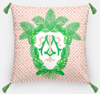 Tropical Palm Leaf Crest, Coral Reef, Personalized Pillow 18