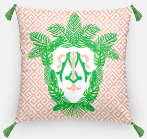 "Tropical Palm Leaf Crest, Coral Reef, Personalized Pillow 18""x18"" or 20""x20"""