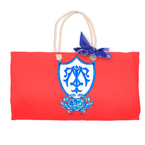 Chinois Crab Crest Tote Bag, Geranium