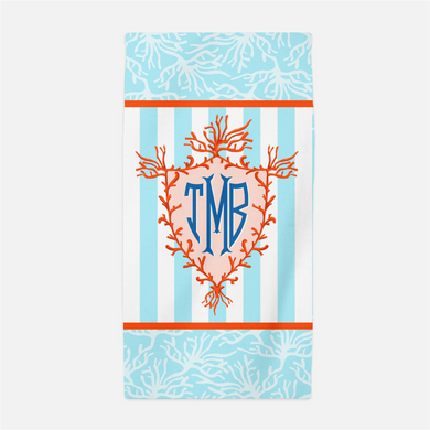 Coral Crest Personalized Beach Towel