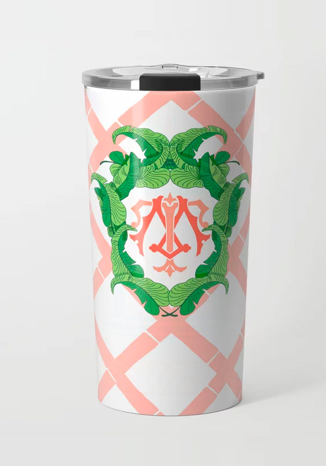 Coral Banana Leaf Crest, Tropicali, Stainless Steel Travel Tumbler