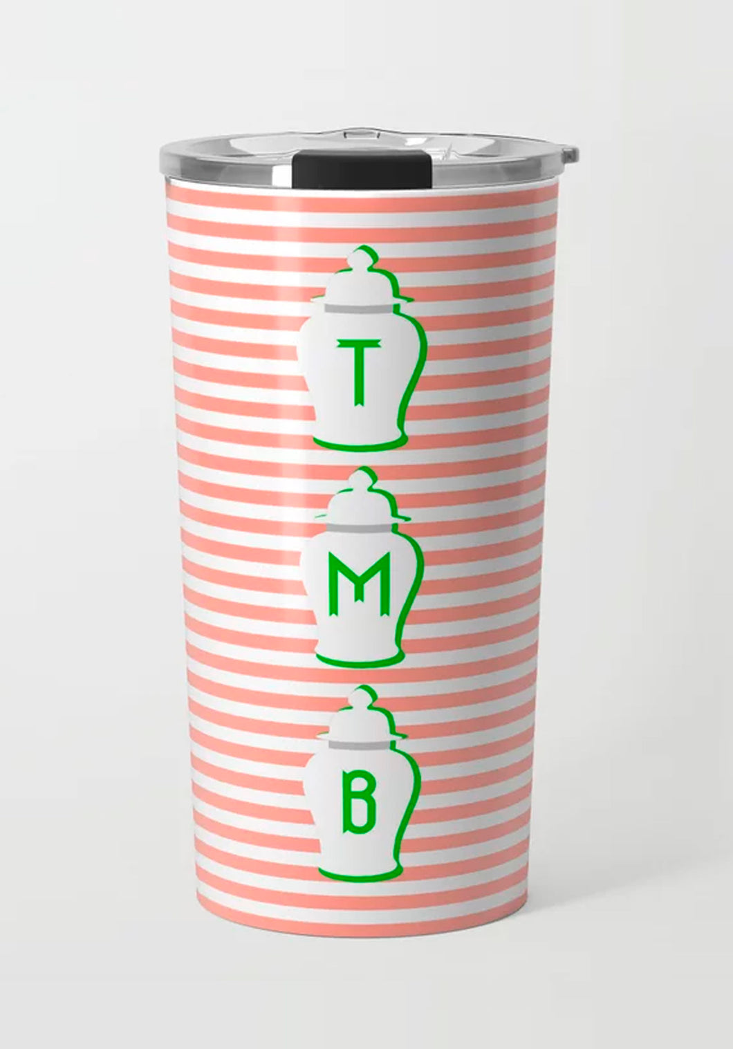 Coral & Green Ginger Jar Stripe Stainless Steel Travel Tumbler