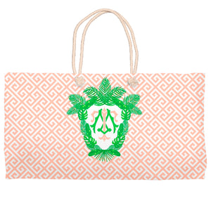 Tropical Palm Leaf Crest Tote Bag, Coral Reef