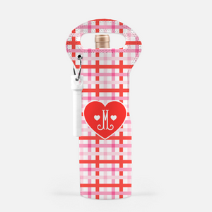 Cupid's Pink Plaid Personalized Valentine's Wine Carrier with Cork Screw