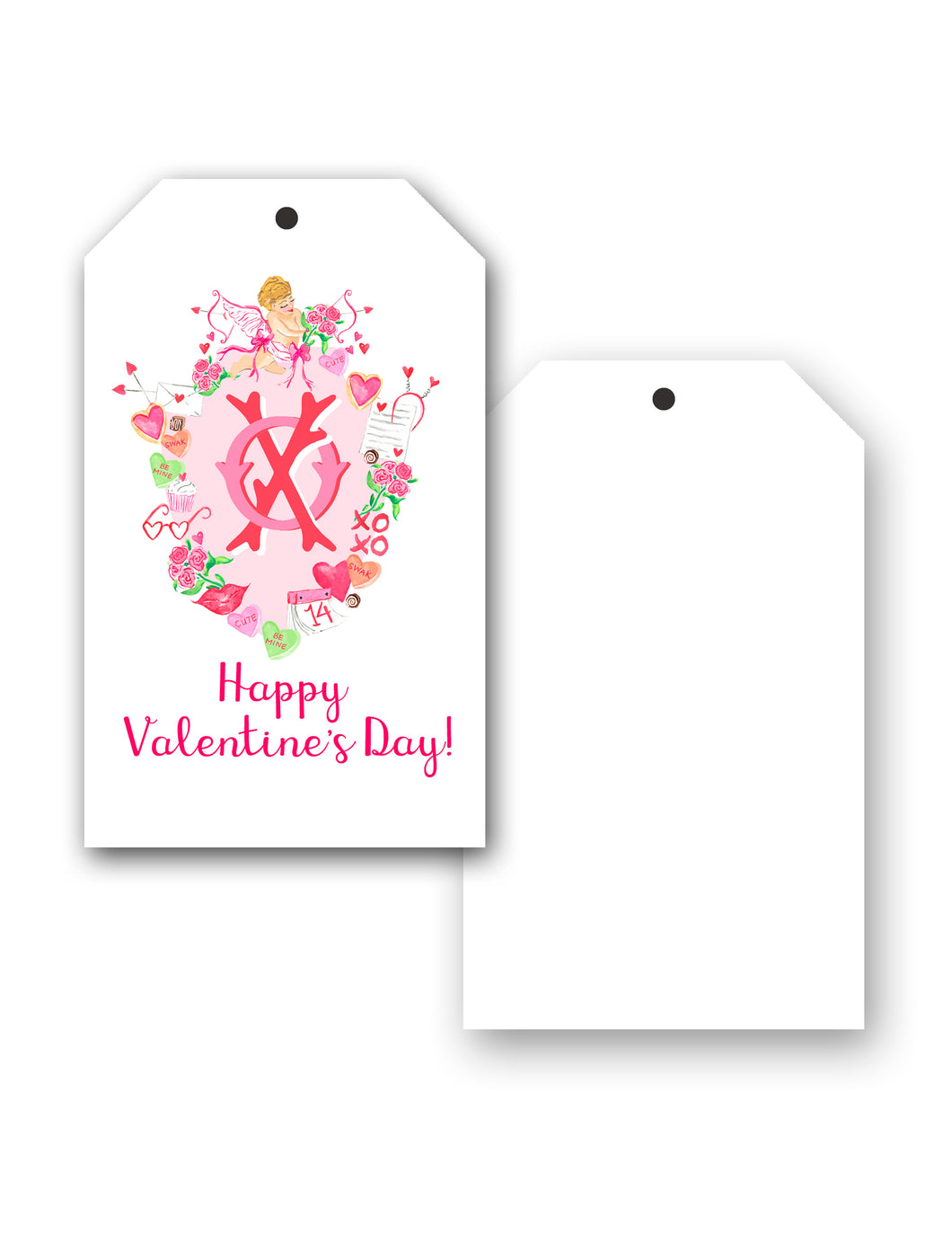 Cupid's Crest Personalized Valentine's Hang Tags