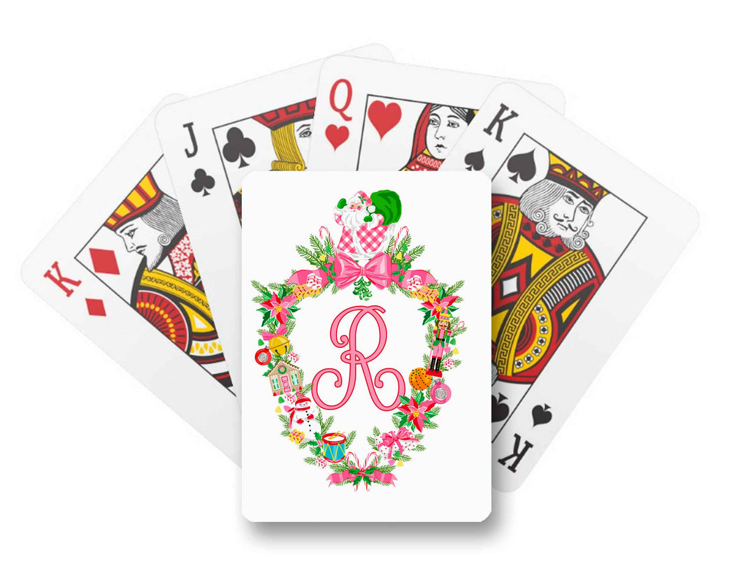 Christmas Crest Personalized Playing Cards