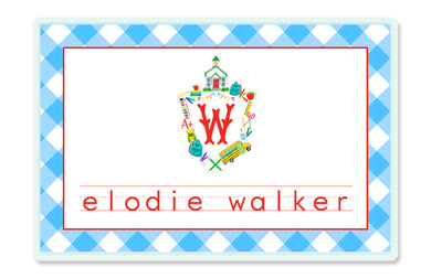 School Crest Children's Personalized Laminated Placemat