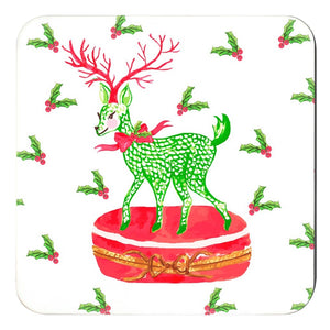 Limoges Christmas Reindeer Holiday  Cork Backed Coasters - Set of 4, Snow