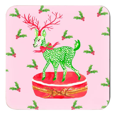 Limoges Christmas Reindeer Holiday  Cork Backed Coasters - Set of 4, Peppermint