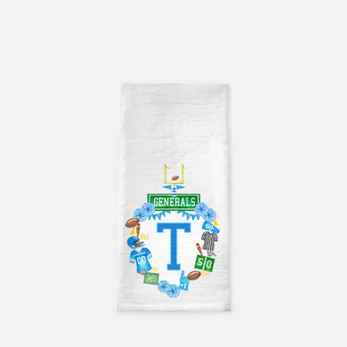 Custom Football Crest Personalized Flour Sack Tea Towel