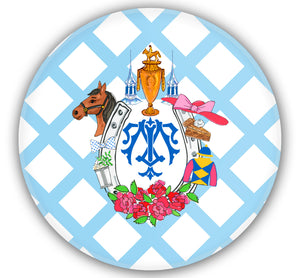 "Derby Crest Set of (4) Personalized, 10"" Dia. Melamine Plates"