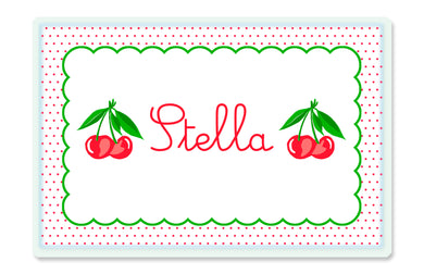 Dotted Cherry Children's Personalized Laminated Placemat