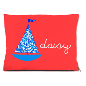 Chinois Sailboat, Geranium, Personalized Pet Bed, (3) Sizes Available